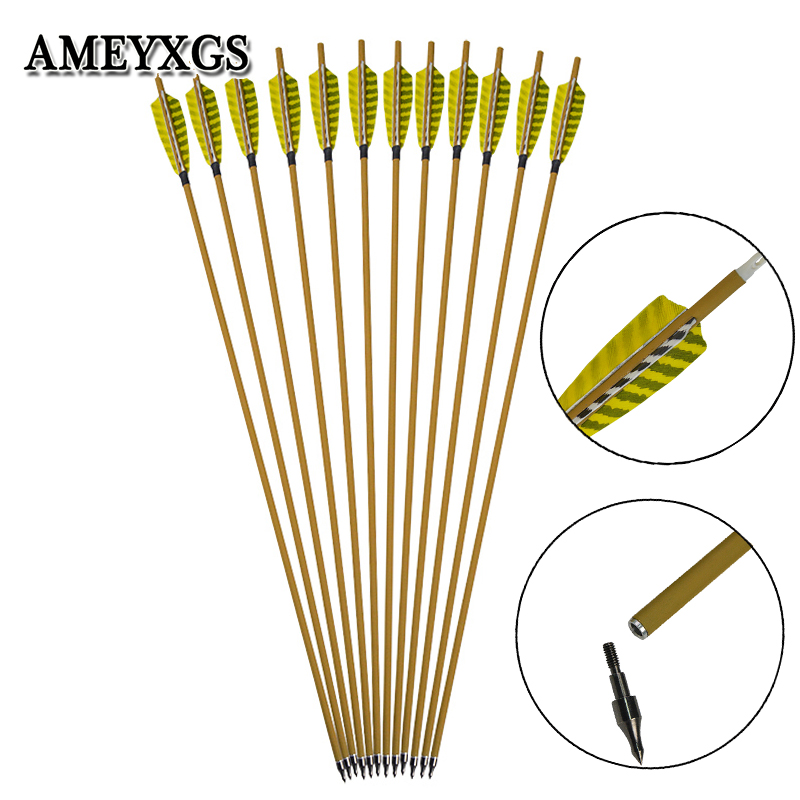 6pcs Archery Spine 450/500 Carbon Arrow With 100grain Replaceable Arrowhead And 4inch Turkey Feather For Hunting Shooting Sports