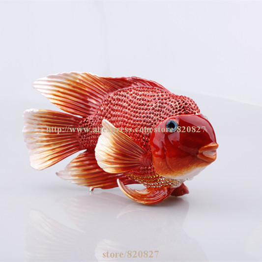 Big Handmade enamel fish shape promo gifts new cute jewelry box red fish box crystals jewelry box fish trinket box red red box сортер red box шар