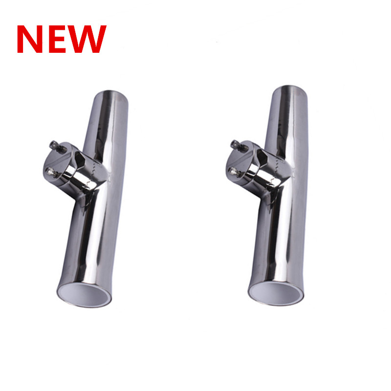 2 Pieces Fishing Rod Holder Clamp Side Mount 7/8-1 Rail Marine Boat Stainless Steel Rod Pole Bracket Tool