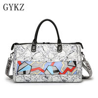 GYKZ Geometrical Printing Women Travel Duffle Bag Yoga Gym Bags 2018 Outdoor Sport Handbag Shoulder Bags