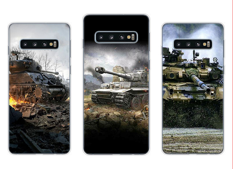 Transparent Soft Silicone Phone Case World of tanks for Samsung Galaxy S10 S10e S10 Plus S10 M10 M20 Cover in Fitted Cases from Cellphones Telecommunications