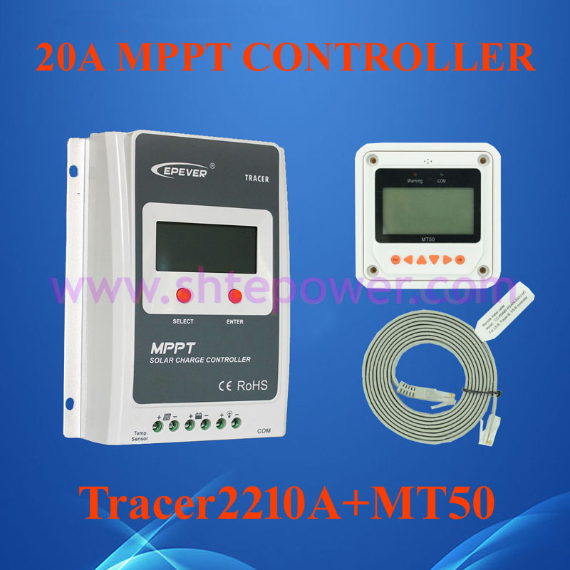 EPsolar Tracer2210A EPsloar 20A MPPT Solar Charge Controller 12V 24V LCD With MT50 meter USB communication & Temperature Sensor epsolar tracer mppt 20a 2215bn solar charge controller solar tracker controller for renewable energy system