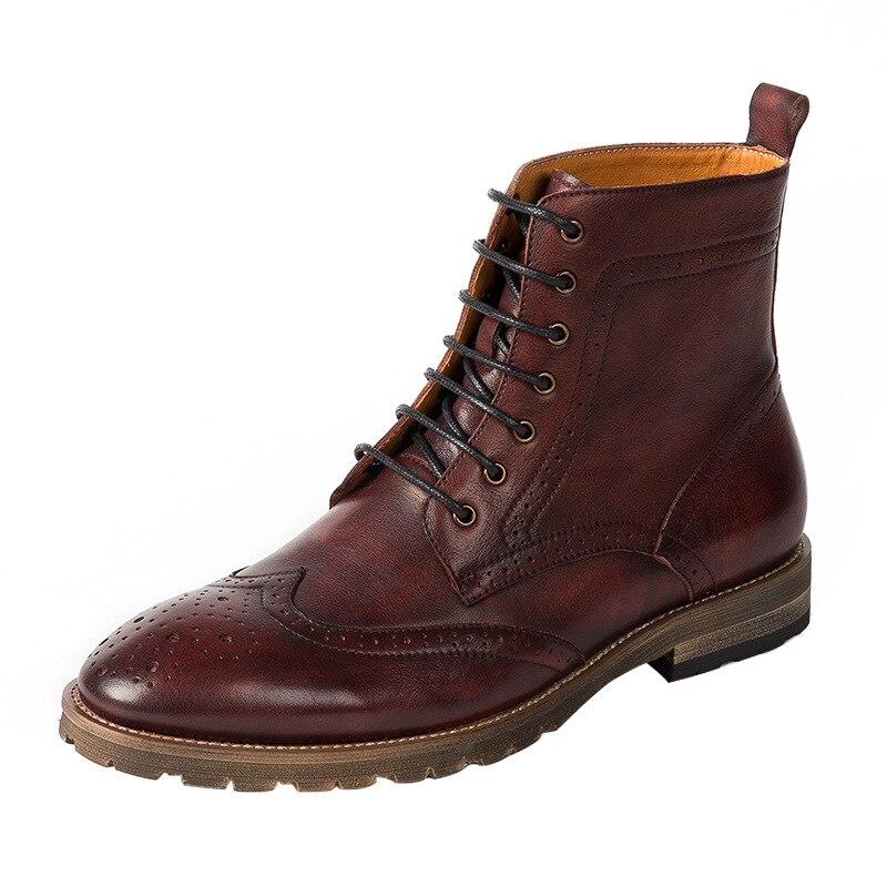 Botines Populares Primavera De Vinho 2018 Homens Casual Sapatos Couro Dos Martin Inverno vermelho Grey Dark Mycoron Boi Business Hombre Botas w5B6P6q