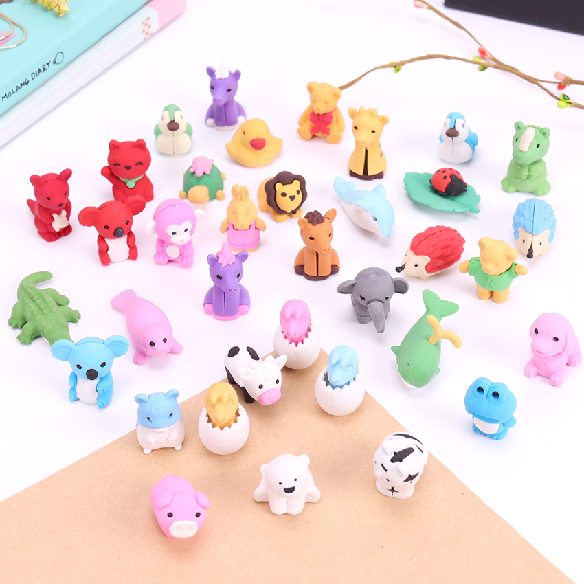 1PC Cute Kawaii Cartoon Animal Shape Rubber Eraser Student Learning Stationery For Child Creative Gift School Stationery