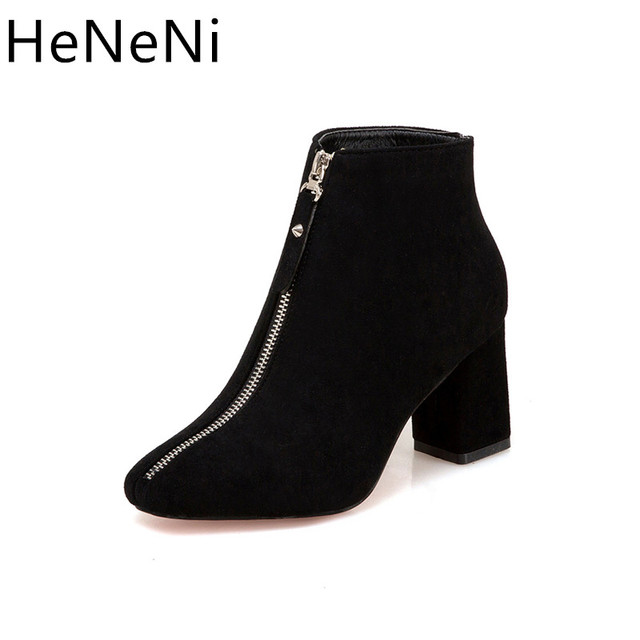 5994782c3 Women's Winter boots Fashion Square Toe Suede Front Zipper Ankle Boots  Martin boots sexy High heels Women shoes Size 35-39