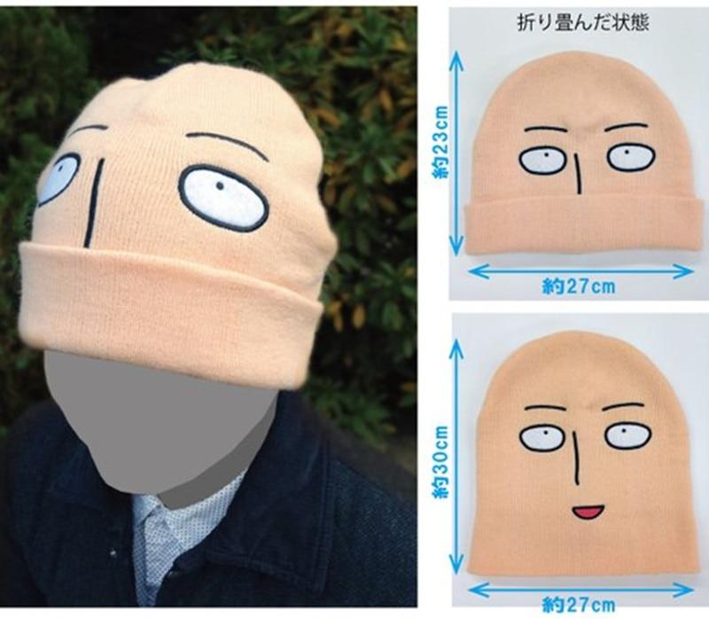 Japonska Anime Cosplay One Punch Man Hat Saitama Cosplay obrito glava Style Zima Topla volnena kapa Halloween Kape in kape Vroča prodaja