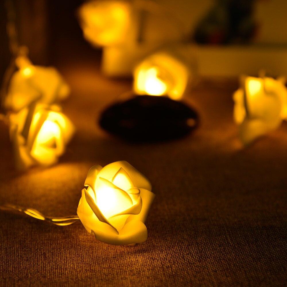 1,2 м 10LED огни строки Яркий теплый цветок розы гирлянды венок светодиодные лампы Фея Света Свадьба садов елочные украшения