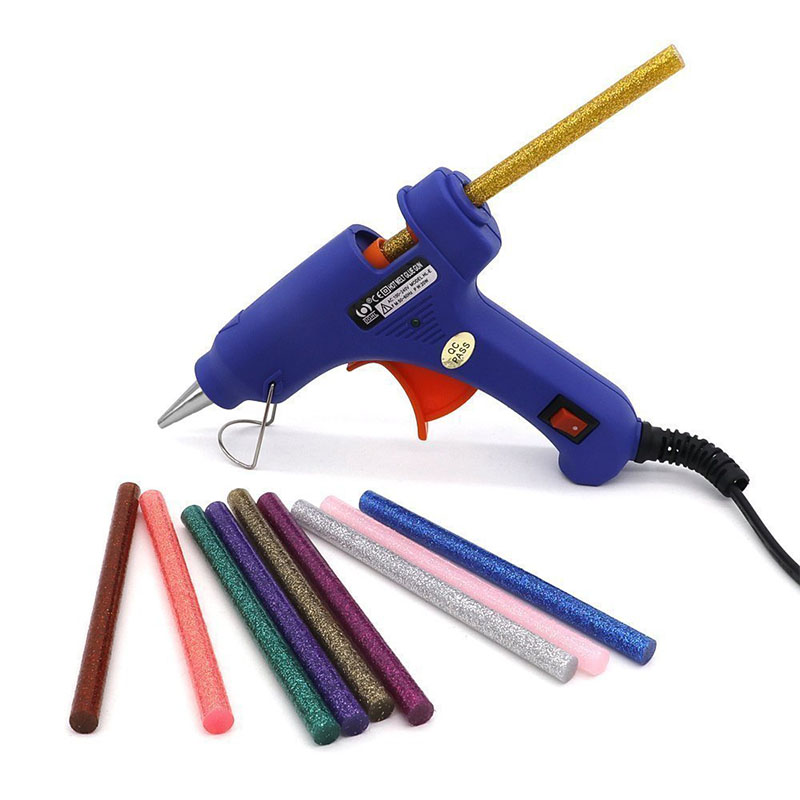 Image 2 - 20w Hot Glue Gun Set With Glitter Stick Glue Gun 7*100mm Hot Melt Adhesive Sticks Rod For Gun Glue Craft Repair DIY-in Hot Melt Glue Sticks from Tools on