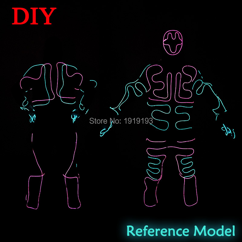 ᐊNew Fashion DIY EL wire Suits LED/EL Clothes glowing Costumes ...