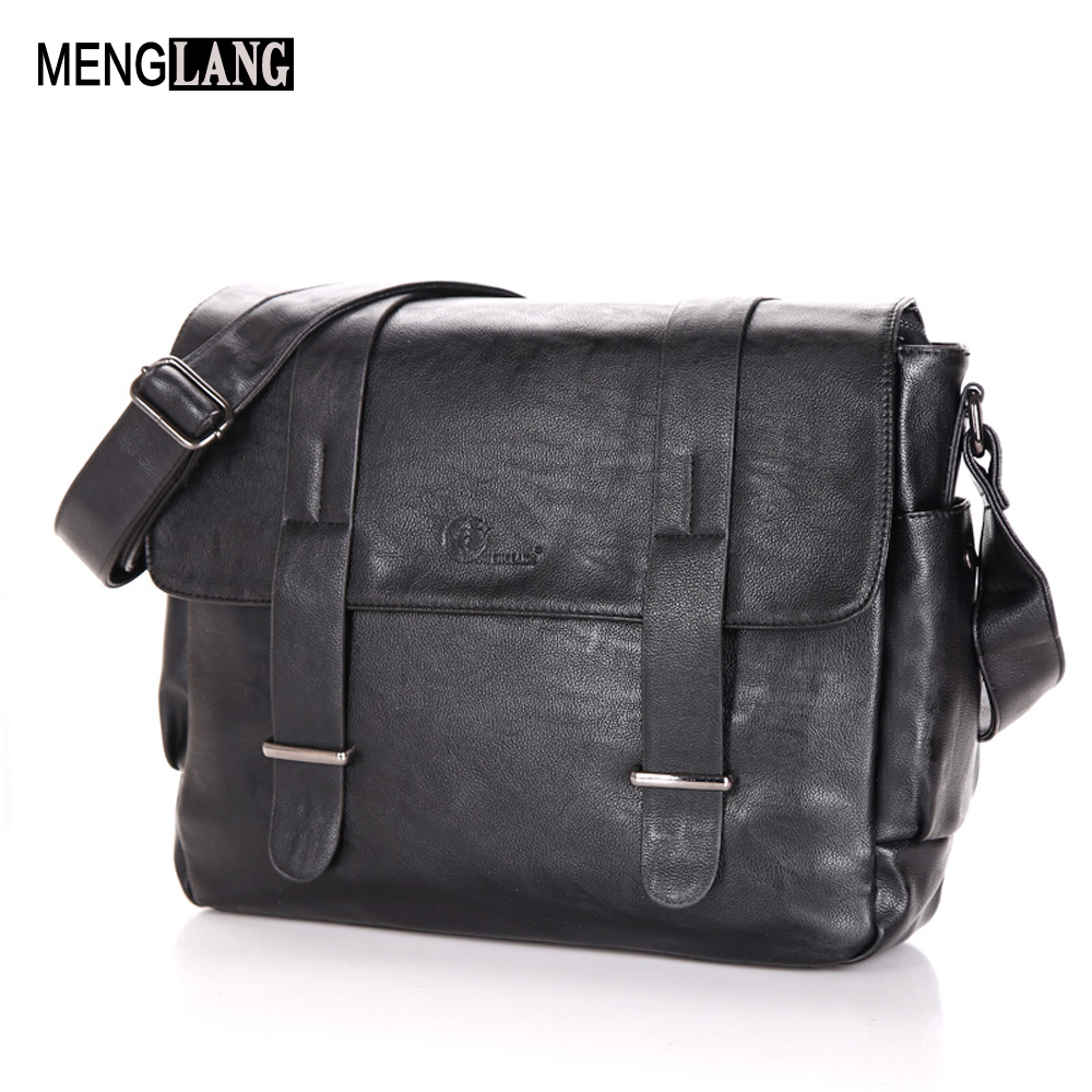 купить Fashion Man Crossbody Bag Black Business Laptop Bags PU Leather Men Messenger Designer Handbags High Quality Shoulder Bag недорого