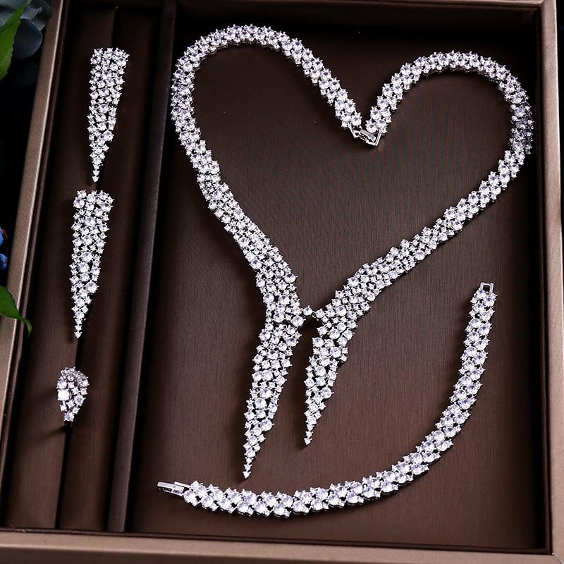 HTB1MFDTeRjTBKNjSZFDq6zVgVXau JaneKelly Gold-Color Luxury Sparking Brilliant Cubic Zircon Drop Earring Necklace Jewelry Sst Wedding Bridal jewelry sets
