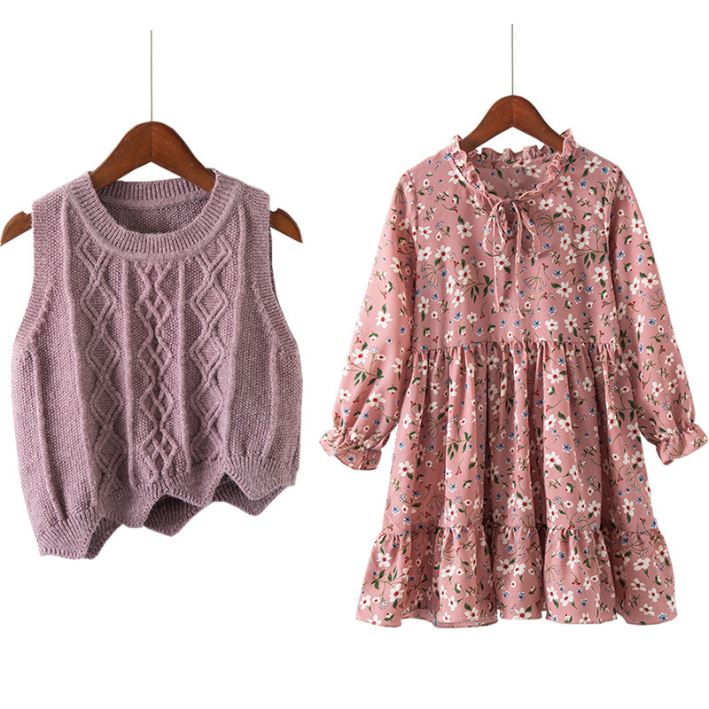 3 - 12 yrs baby girls long sleeve dress knit vest+dress print 2 piece sets children dresses 2018 new winter autumn kids costume bell sleeve rib knit dress