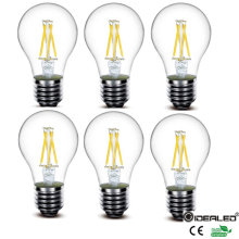 Hot sale A60 led filament bulb 4W Edison Style Light Bulb 60W Equivalent white 6000K and 2700K with E27 Base 6-Pack Edison Bulb