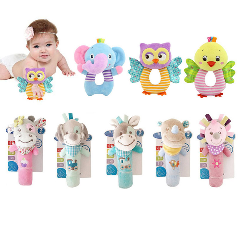 Baby Toys 0-12 Months Cartoon Owl/Elephant Baby Toy Rattles Infant Toddler Plush Toy Bebek Oyuncak Educational Toys