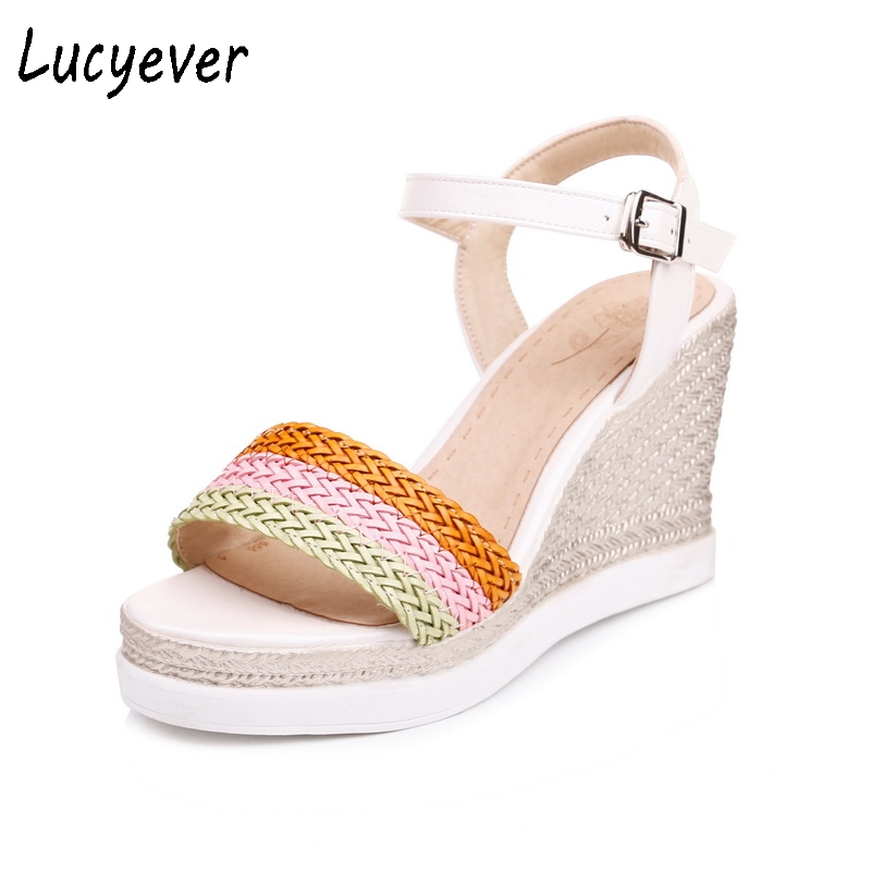 Lucyever Summer Women Sandals Sweet Patchwork Wedges Shoes Woman Fashion High Heels Platform Comfort Casual Sandals Plus Size phyanic 2017 gladiator sandals gold silver shoes woman summer platform wedges glitters creepers casual women shoes phy3323