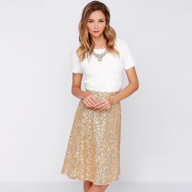 Gold Sequin A Line Skirt Promotion-Shop for Promotional Gold ...