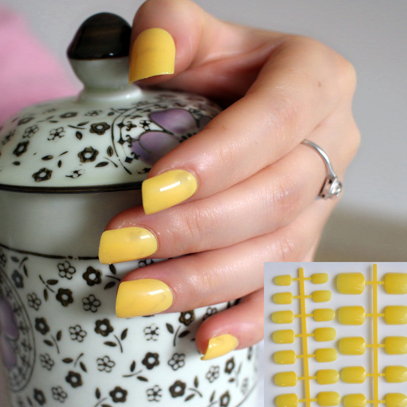 New 2015 Women Candy fake nails tips false nail Short Round End shiny surface Lemon Yellow N124 bracelet