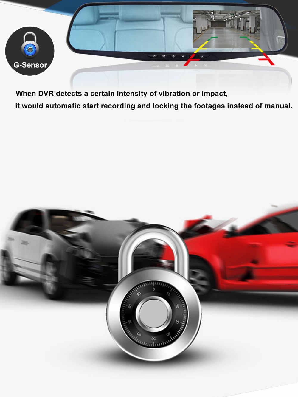 4,3 дюймов Full HD 1080P Автомобильный видеорегистратор Камера авто зеркало заднего вида цифровой видеорегистратор двойной объектив регистрационная видеокамера