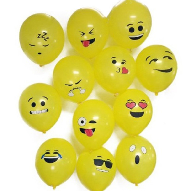 10pcs 12inch Cute Expression Latex Balloons Cartoon Face Expression Wholesale Balloon for Kid Birthday Party Decoration Supplies
