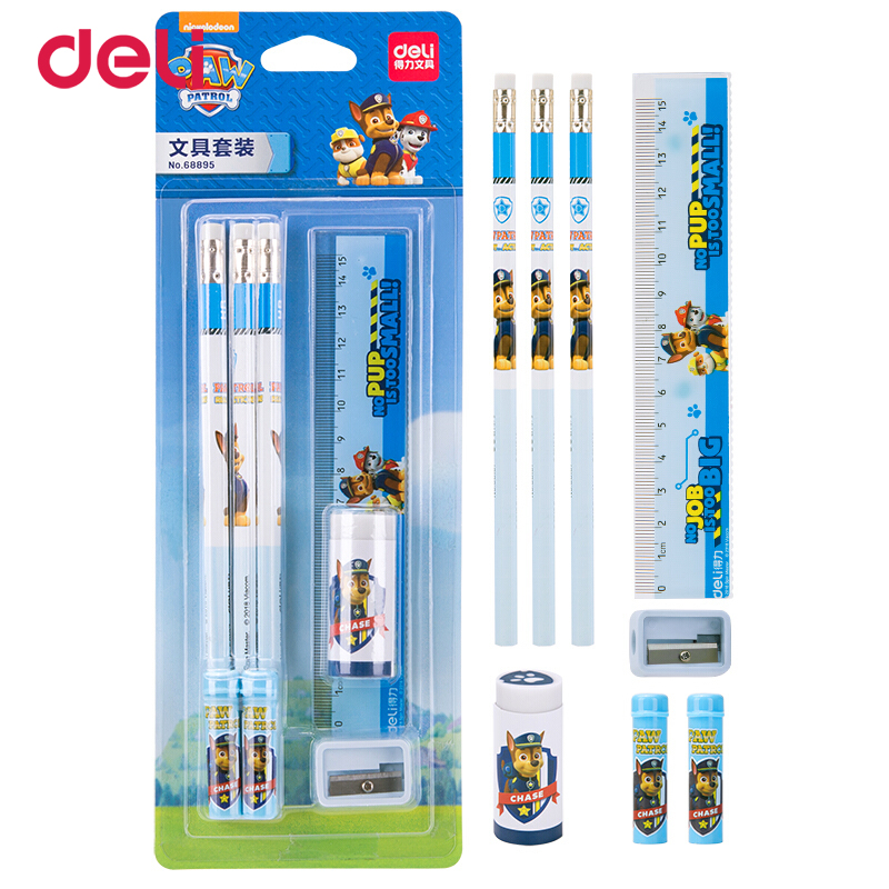 Deli Kawaii Paw patrol simple pencil set of 5pcs student stationery gifts school supplies cute eraser pencil cap ruler sharpener