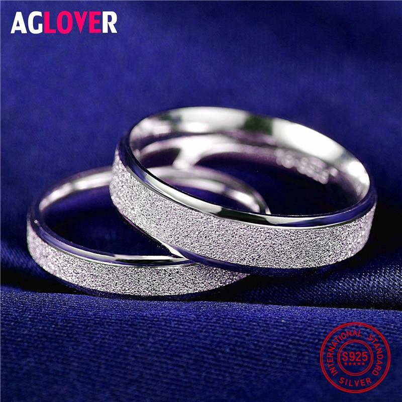 Кольцо из стерлингового серебра 925 пробы, женское модное простое матовое кольцо для пары, очаровательные женские кольца для любителей ювели...