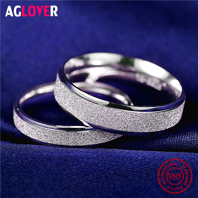 925 Sterling Silver Rings Woman Fashion Simple Couple Matte Rings Charming Female Lovers Jewelry 925 Sterling Silver Rings Woman Fashion Simple Couple Matte Rings Charming Female Lovers Jewelry