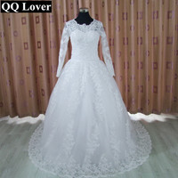 QQ Lover Long Sleeve Muslim Wedding Dress Lace Appliques White Tulle A Line Vintage Wedding Dress