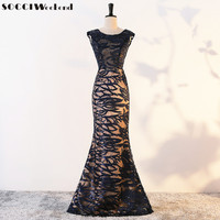 SOCCI Weekend Long Elegant Evening Dress 2017 Sequined Pattern Formal Prom Party Gowns Mother Of The