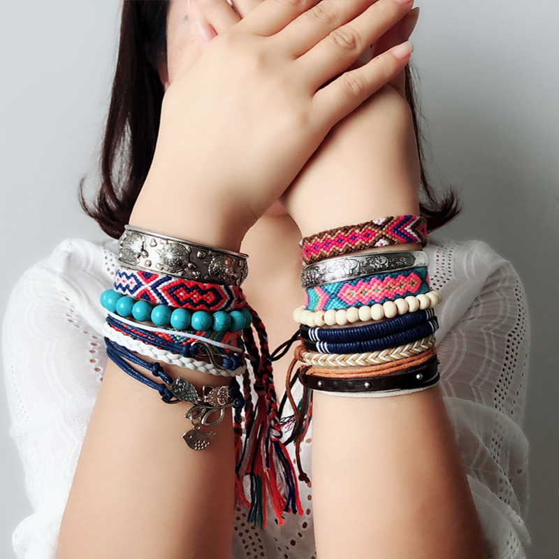Bohemian Weave Cotton Charms Bracelet Girl Brazilian Weave Rope String Handmade Bracelets for Women Drop Shipping 2
