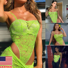 Sexy Women Lace Hollow Lingerie Jumpsuits G-string Bodysuit  Bodycon Bandage Jumpsuit Short Romper Vest Tops