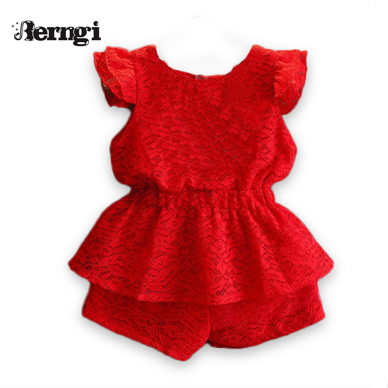 Girls Summer Sets 2017 New Red Children Clothing Sets  round-neck Girl Pullover Lace Flying sleeve Shirt+Red shorts 2Pcs Suit autumn winter girls children sets clothing long sleeve o neck pullover cartoon dog sweater short pant suit sets for cute girls
