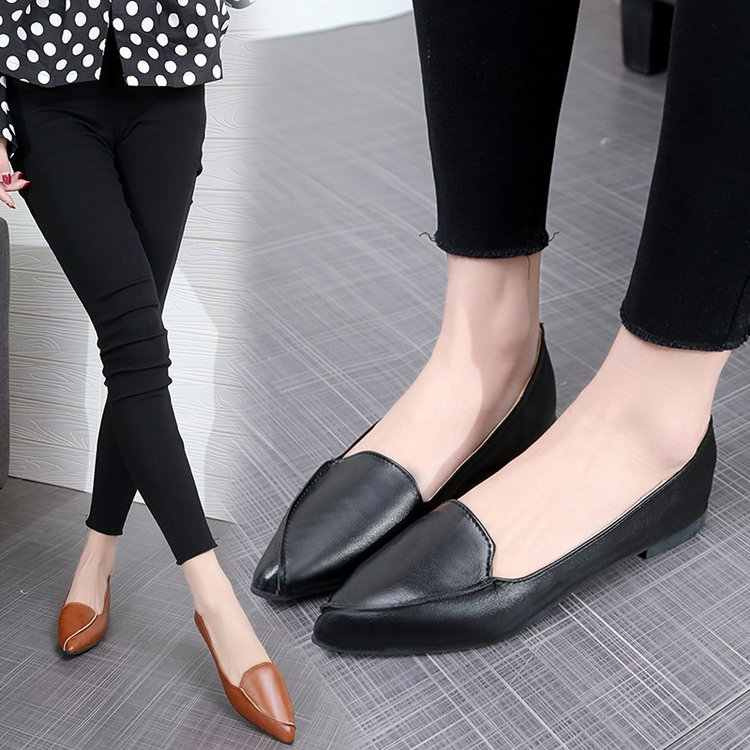 d6043a41e9f Women flat casual slip on shoes loafers ladies dress pointed toe brown  black comfortable work office