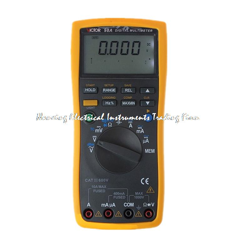 VICTOR VC98A Digital Multimeter Thermocouple K RTD PT100, anti-high voltage circuit design,Backlight,lager LCD victor lcd 4 1 2 digital multimeter vc9806