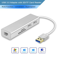 USB 3.0 to 2-Port USB Hub+SD & MicroSD/TF Dual Card Reader + 10/100/1000 Gigabit Ethernet Adapter,4 in 1 Multi Funtion Hub for P new 3 in 1 card reader usb camera connection hub for u disk sd tf for ipad mini 4 5 air usb hub card reader