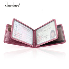 Tri-Fold Genuine Leather Women Driver Licence Mini Female Coin Purse Ladies Small Bags Credit Card Case Wallet Id Card Holder(China)