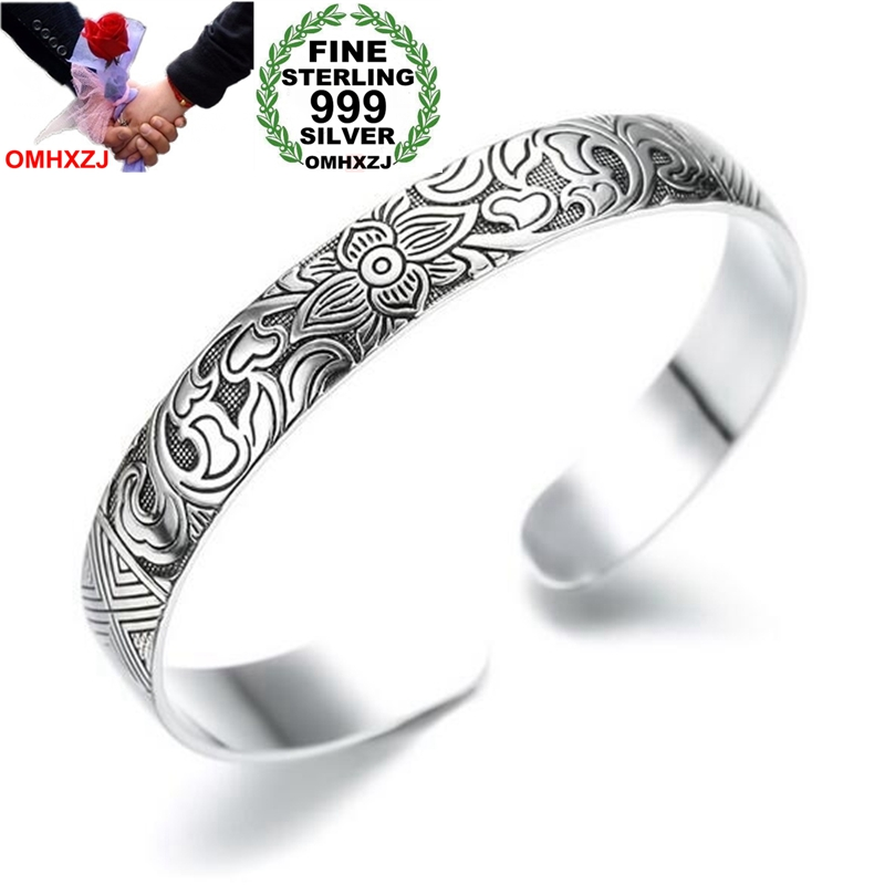 OMHXZJ Wholesale Ethnic Fashion Woman Child Gift Lotus Leaves 999 Sterling Silver Thai Silver Bracelet Bangle Adjustable SZ71 bangle