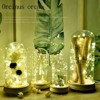 The Nordic minimalist bedroom lamp glass desk lamp restaurant creative romantic birthday gift of love Nightlight free shipping