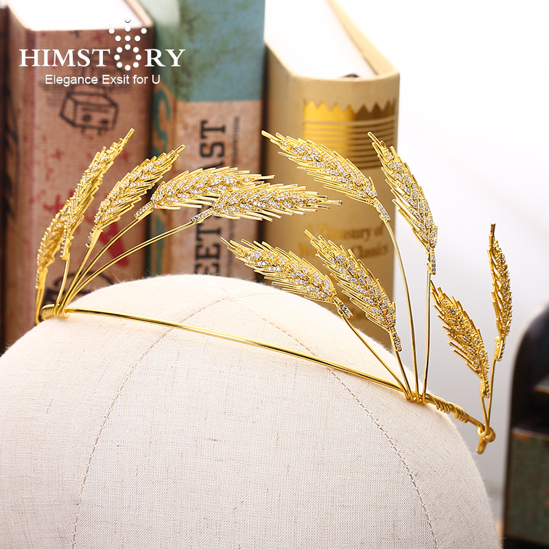 HIMSTORY New Gold Wheat Wedding Bridal Hairband Hair Accessories Eleagnce Wheat Designs Prom Party Hair Jewelry Crown 5 10pc hot sell gold silver elastic rubber telephone wire hair rope ponytail holder party hairband hair band accessories