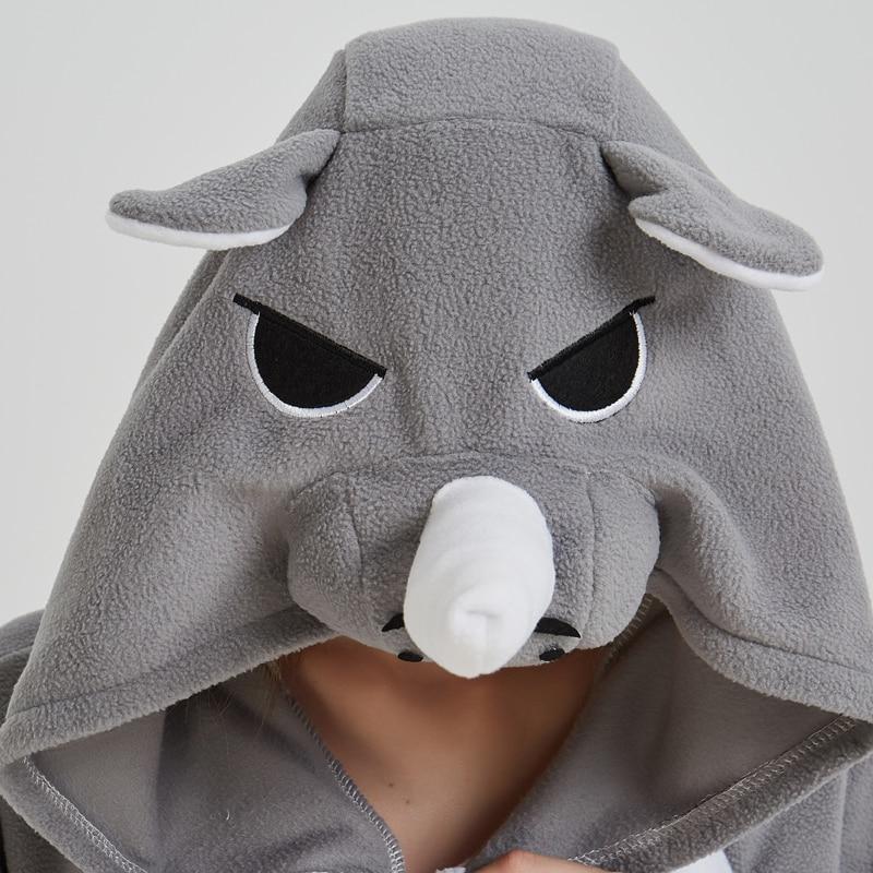 Men Adult Funny Cute Rhinoceros Gray Pajamas Cosplay Costume Animal Onesies Rhino Sleepwear (6)
