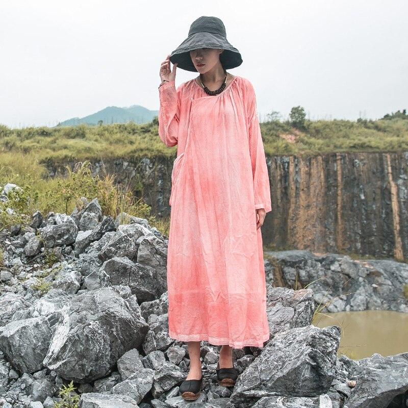 Femmes Col V À Manches Coton Longues 2018 Johnature orange Robes Vintage Gris Irrégulière De Lâche Automne Haute Qualité Neuf Robe dCxP47