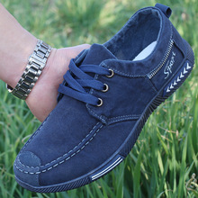 2018 spring and autumn mens canvas shoes, flat non leather casual shoes.