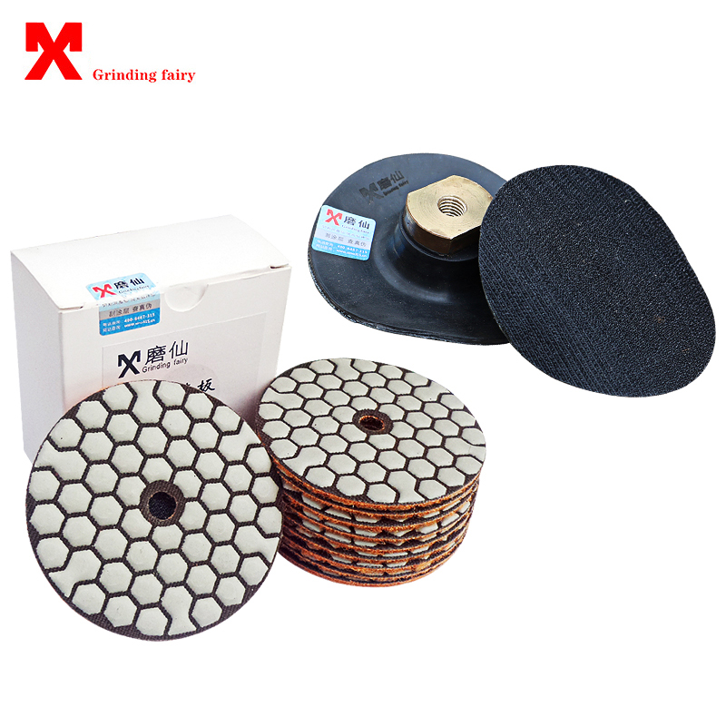New Diamond Dry Polishing Pads 3 Inch 4 Inch Abrasive Pad Disc For Concrete Marble Grinding Plate 80mm 100mm Polishing Pad Tools