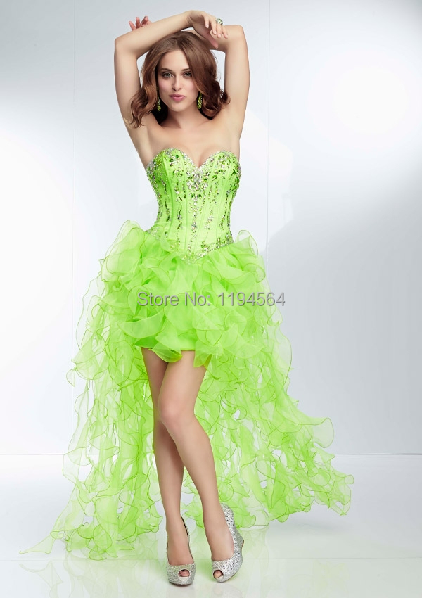 hi low prom dresses 2014 lime green beaded sweetheart