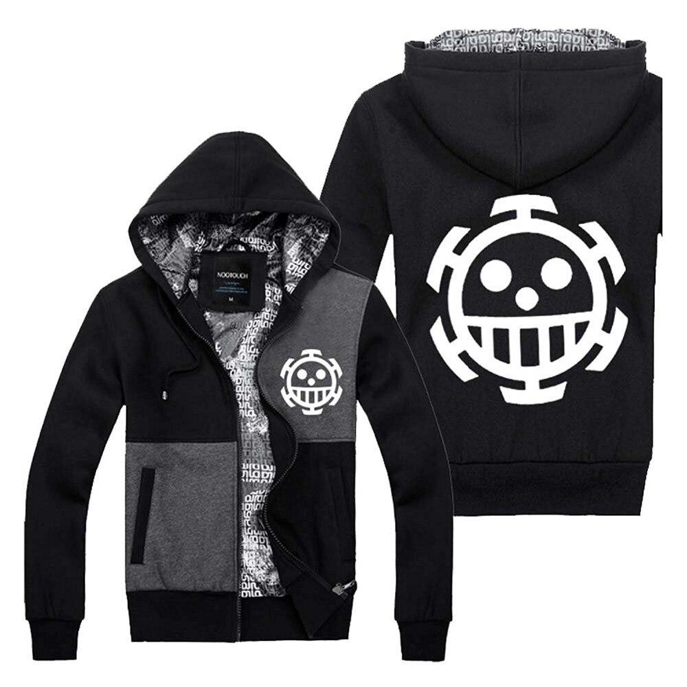 Anime One Piece Hoodie Monkey D Luffy Sweatshirt 2018 Spring Winter Men Jacket Thick Hip Hop Skull Hoodie