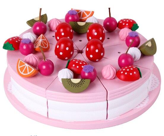 Jeux de Simulation de Cuisine Jouets Simulation En Bois Gâteau D'anniversaire Cadeau de Jouet Enfants Cuisine En Bois Jouets Cuisine Set pour Enfants
