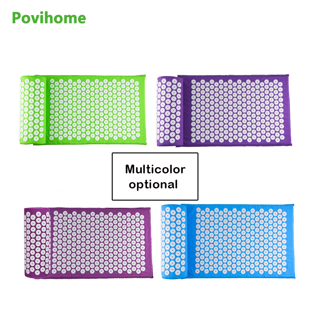 Povihome Chinese Acupressure Therapy Cushion Massage Mat Set Relieve Stress Pain health care Yoga Mat with Pillow povihome 1set massage cushion acupressure therapy mat relieve stress pain relief acupuncture spike yoga mat with pillow d06874