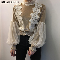 Retro Flannel Shirt Women Korean Lace Puff Sleeve Girl S Shirt Fashion Stitching Embroidered Long Sleeve