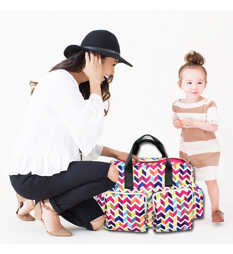 2018 New colorful wave baby diaper bag qulited baby stroller bag big capacity baby bag organizer mother travel maternity bag