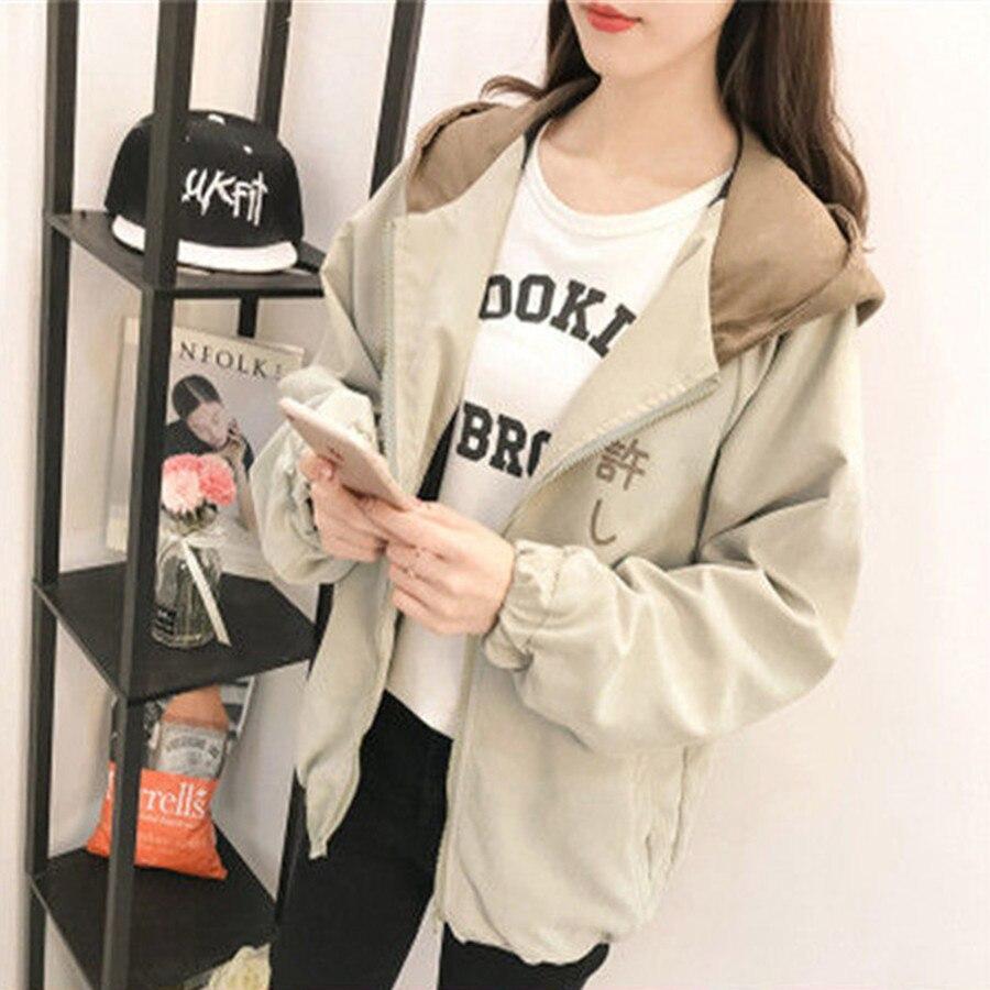 Bomber   Jacket   Women Casual Hooded Loosen   Jacket   Student Harajuku Coat Oversize Coats Female   Basic     Jacket   Windbreaker