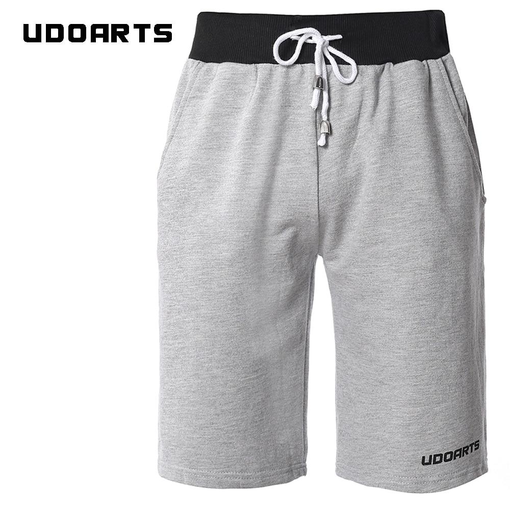 Udoarts Mens Sports Fleece Jogger 100% Cotton Elastic Gym Shorts ...